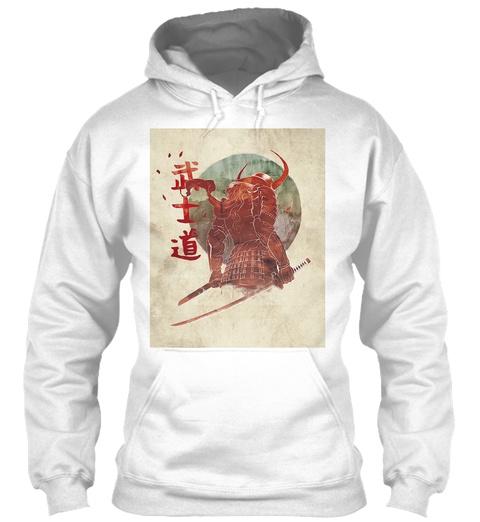 Red Samurai Hoodie White Sweatshirt Front