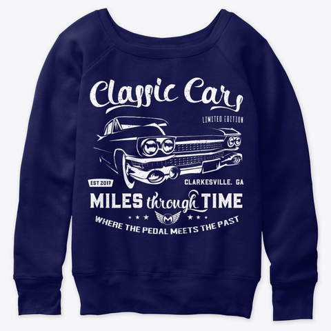 Classic Cars White Caddy Edition Navy  T-Shirt Front