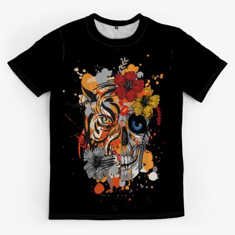 Tiger And Skull 💀🐯 Black T-Shirt Front