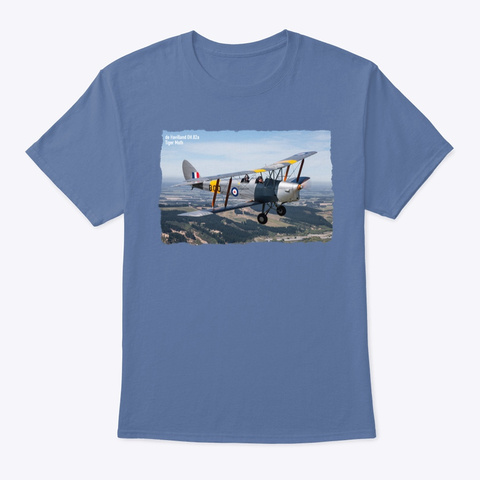 De Havilland Dh.82a Tiger Moth Denim Blue T-Shirt Front