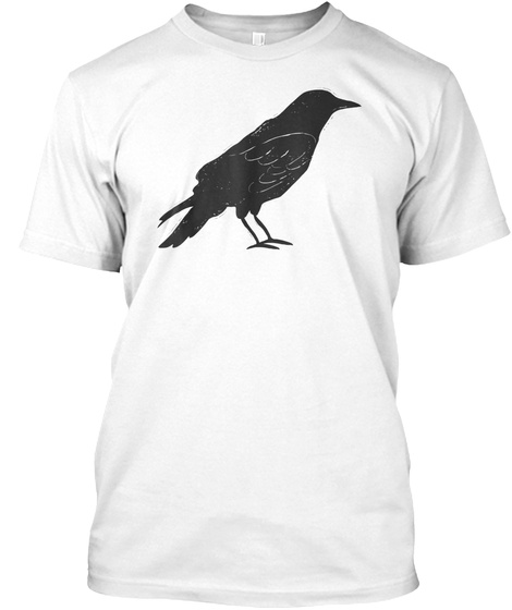 Vintage Hand Drawn Tattoo Style Crow T S White T-Shirt Front