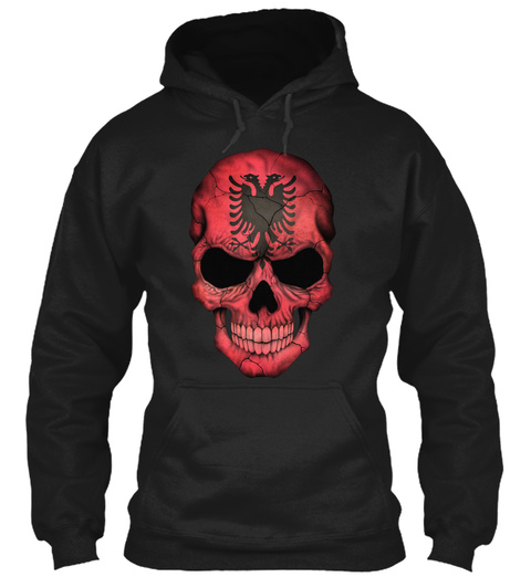 Albanian Flag Skull Shirt Black T-Shirt Front