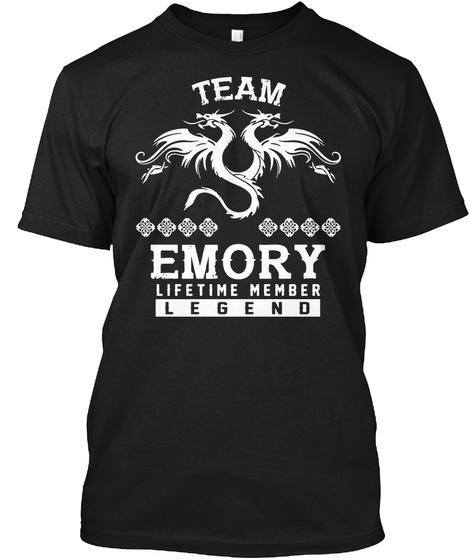 Team Emory Lifetime Member T Shirt Black T-Shirt Front