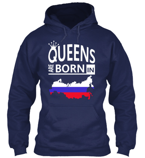 Russia Born Queen Russian Woman Birthday Navy T-Shirt Front