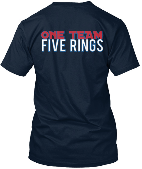 One Team Five Rings New Navy T-Shirt Back
