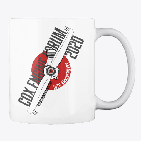 Cox Engine Forum 10th Anniversary Mug White T-Shirt Back