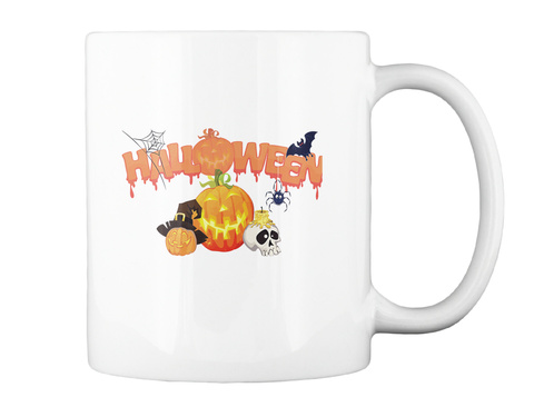 Halloween Coffee Mug Tea Cup White T-Shirt Back