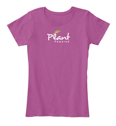 Plant Powered Heathered Pink Raspberry Women's T-Shirt Front