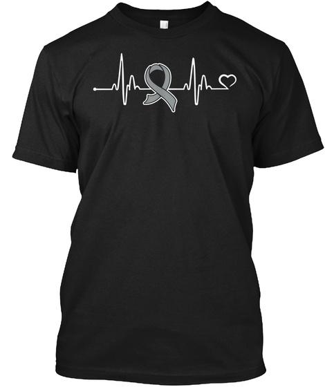Heart Bit | Brain Cancer Awareness Black T-Shirt Front