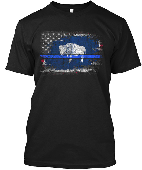 Wyoming Thin Blue Line Flag Black T-Shirt Front