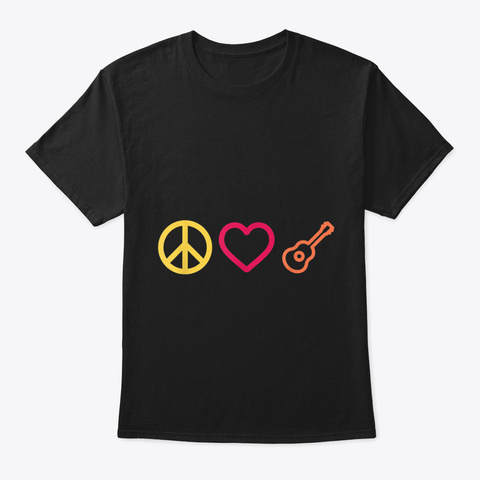 Peace Love Rock And Roll Guitar Tshirt H Black T-Shirt Front