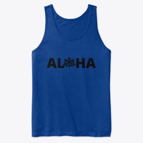 Love Yoga. Live Aloha! Om & Namaste True Royal T-Shirt Front