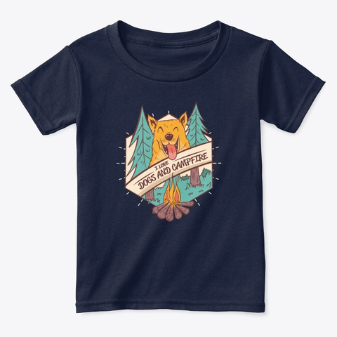 Camping I Love Dogs And Campfire Navy  T-Shirt Front