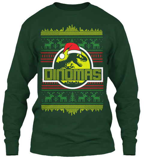 Dinomas Forest Green Long Sleeve T-Shirt Front