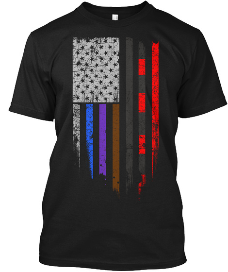 Bjj Flag   Stars And Stripes Black T-Shirt Front