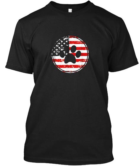 Dog Paw Print American Flag Usa Patrioti Black T-Shirt Front