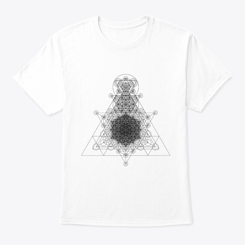 Sacred Geometry Higher Dimension Black White T-Shirt Front