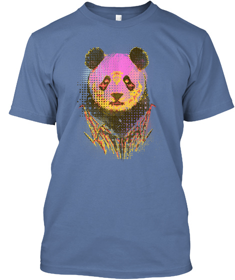 Dandy Panda Denim Blue T-Shirt Front