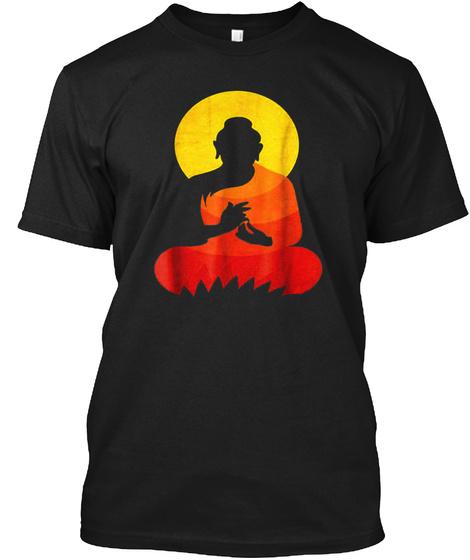 Buddha   Ying Yang Zen Yoga  Black T-Shirt Front