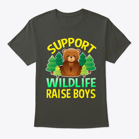 Support Wildlife Raise Boys Smoke Gray T-Shirt Front
