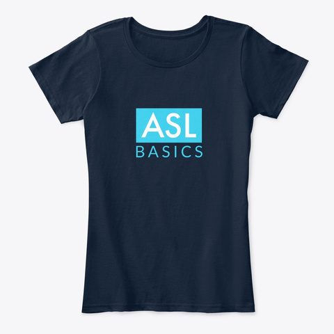 Asl Basics New Navy T-Shirt Front