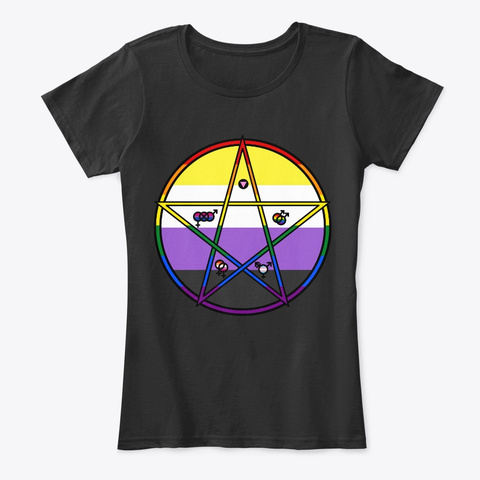 Queer Pentagram Non Binary Black T-Shirt Front