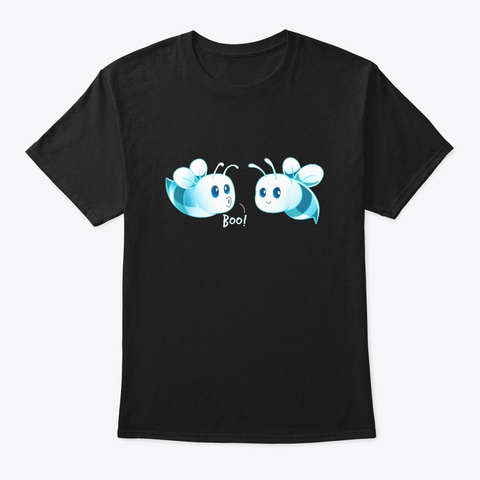 Boo Bees T Shirt Halloween Ghost Bee Black T-Shirt Front