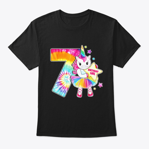 7th Birthday Unicorn Shirt Gift For Black T-Shirt Front