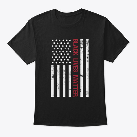 Usa Flag, Black Lives Matter  Black T-Shirt Front