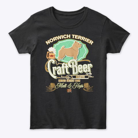 Norwich Terrier Gifts Dog Beer Lover Black T-Shirt Front