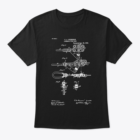 Lineman   Patent Art Black T-Shirt Front
