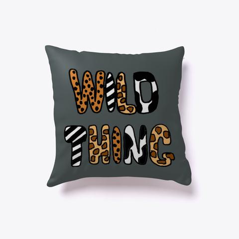 Cool Wild Thing Animal Print Art Dark Grey T-Shirt Front