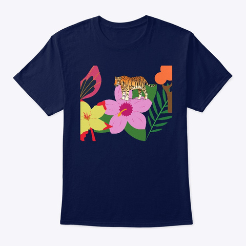 The Tiger And The Orchids Navy T-Shirt Front