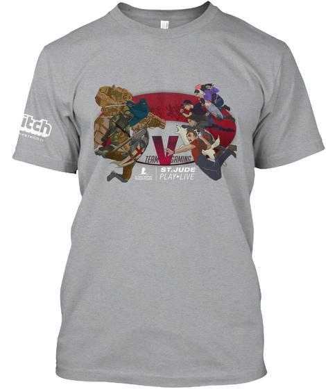 Team V Gaming St Jude Play Live Heather Grey T-Shirt Front