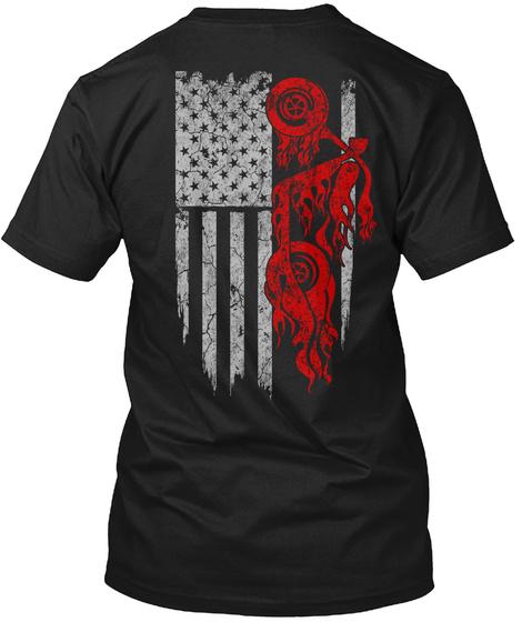 American Biker Flag Shirt Black T-Shirt Back