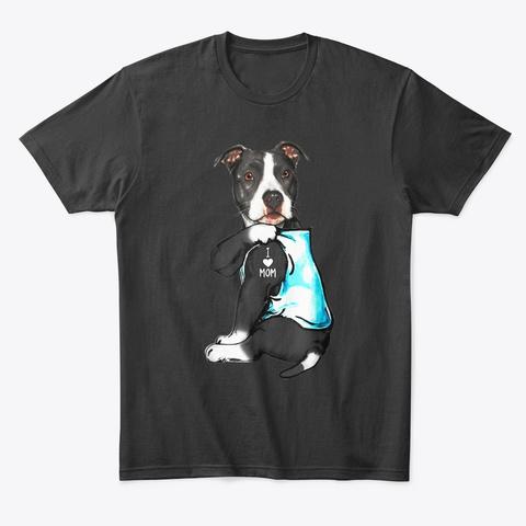 Pit Bull Dog I Love Mom Tattoo Black T-Shirt Front