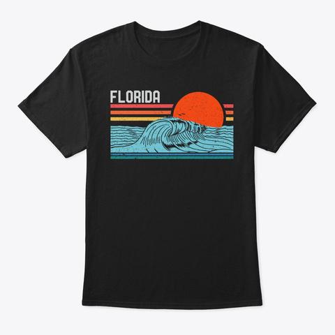 Vintage Florida Beach Surf Retro Sunset Black T-Shirt Front