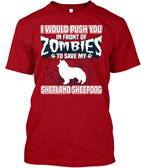 Shetland Sheepdog Deep Red T-Shirt Front