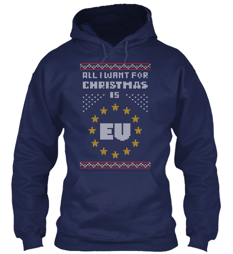 All I Want For Christmas Is Eu Navy Maglietta Front