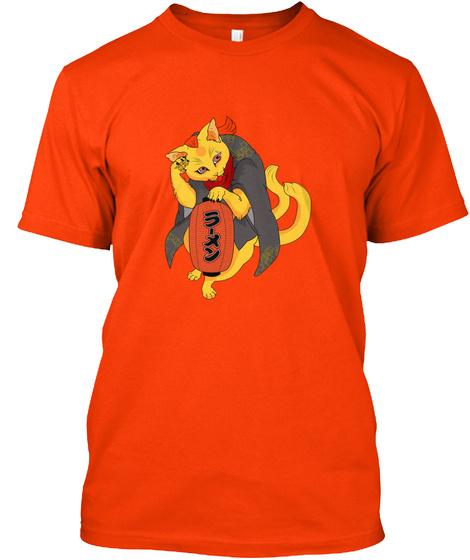 Maneki Neko T Shirt Orange T-Shirt Front