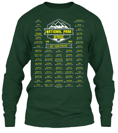 National Park Service 1916 2016 100 Th Anniversary Forest Green Long Sleeve T-Shirt Front