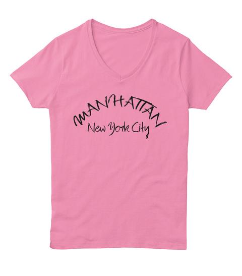 Manhattan New York City Pink  T-Shirt Front