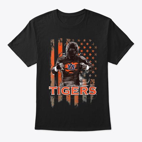 Auburn Tigers Player Flag T Shirt Black T-Shirt Front