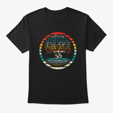 Tree Of Life With Om Symbol Yoga Black T-Shirt Front