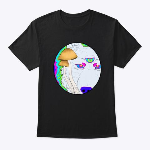 Shroom Wolf Black T-Shirt Front