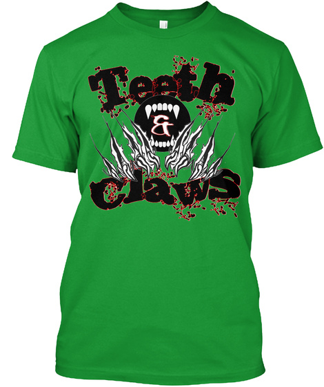 Teeth And Claws Kelly Green T-Shirt Front