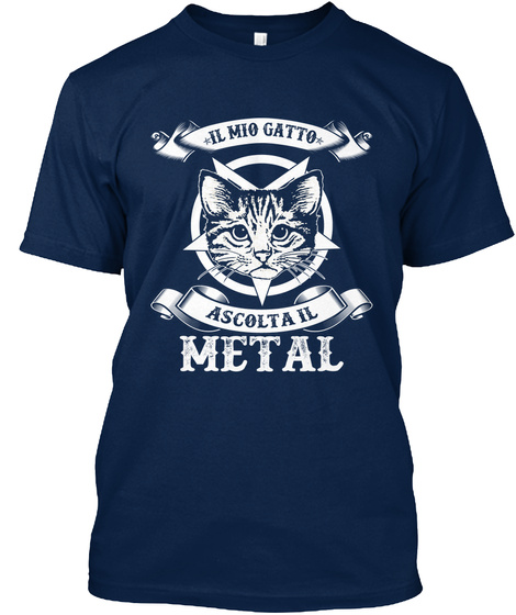 Il Mio Gatto Ascolta Il Metal Navy T-Shirt Front