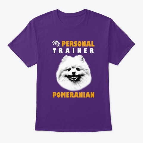 Personal Trainer Is Pomeranian T Shirt Purple T-Shirt Front