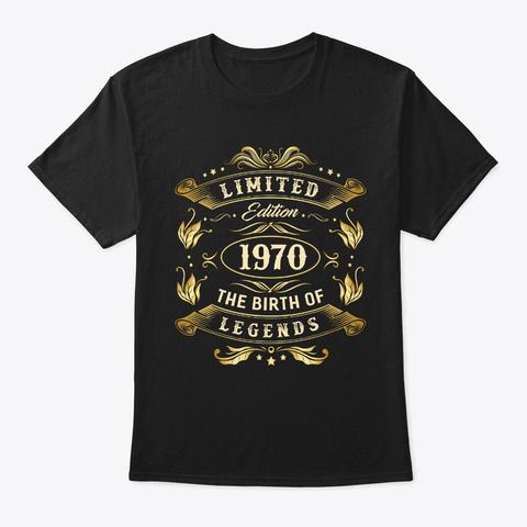 February 1970   50th Birthday    50 Year Black T-Shirt Front
