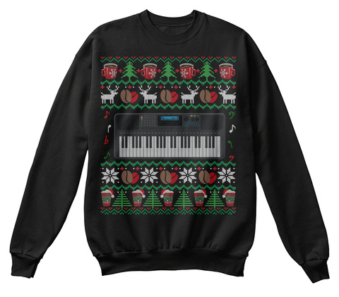 Christmas Coffee Synthesizer Ugly Gifts Black T-Shirt Front